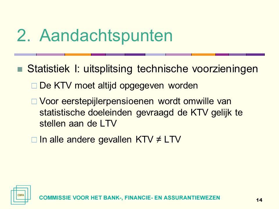 2.Aandachtspunten  Statistiek I: uitsplitsing technische voorzieningen  De KTV moet altijd opgegeven worden  Voor eerstepijlerpensioenen wordt omwi