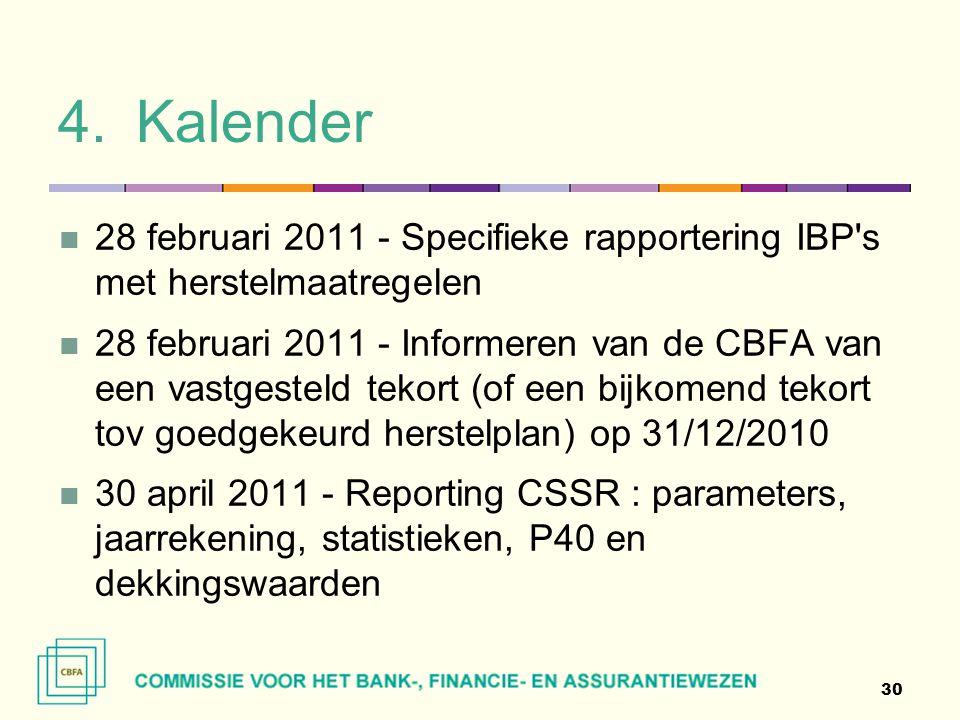 4.Kalender  28 februari 2011 - Specifieke rapportering IBP's met herstelmaatregelen  28 februari 2011 - Informeren van de CBFA van een vastgesteld t