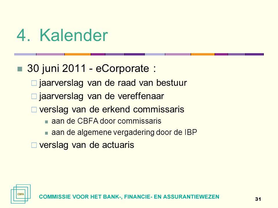 4.Kalender  30 juni 2011 - eCorporate :  jaarverslag van de raad van bestuur  jaarverslag van de vereffenaar  verslag van de erkend commissaris 