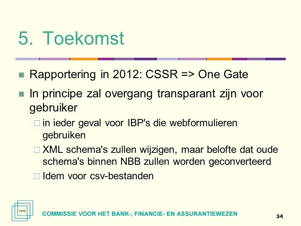 5.Toekomst  Rapportering in 2012: CSSR => One Gate  In principe zal overgang transparant zijn voor gebruiker  in ieder geval voor IBP's die webform