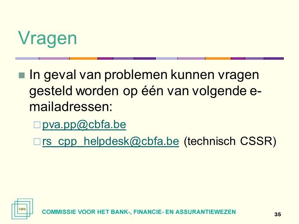 Vragen  In geval van problemen kunnen vragen gesteld worden op één van volgende e- mailadressen:  pva.pp@cbfa.be pva.pp@cbfa.be  rs_cpp_helpdesk@cb