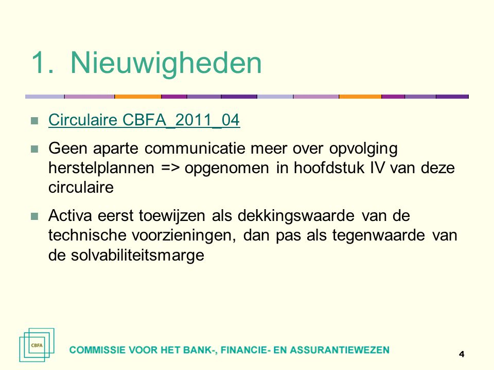 1.Nieuwigheden  Circulaire CBFA_2011_04 Circulaire CBFA_2011_04  Geen aparte communicatie meer over opvolging herstelplannen => opgenomen in hoofdst