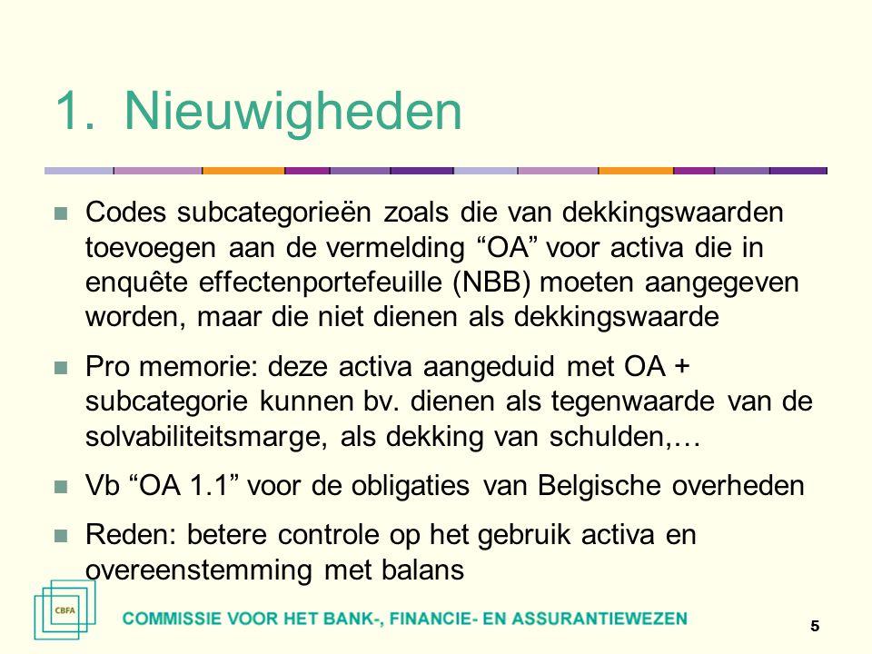 """1.Nieuwigheden  Codes subcategorieën zoals die van dekkingswaarden toevoegen aan de vermelding """"OA"""" voor activa die in enquête effectenportefeuille ("""