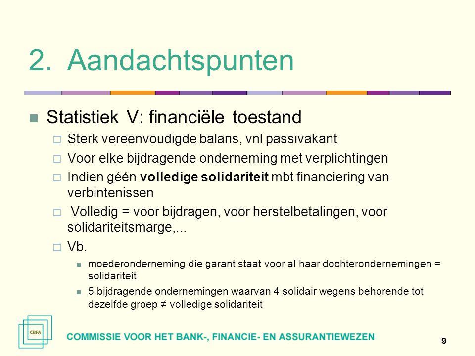 2.Aandachtspunten  Statistiek V: financiële toestand  Sterk vereenvoudigde balans, vnl passivakant  Voor elke bijdragende onderneming met verplicht
