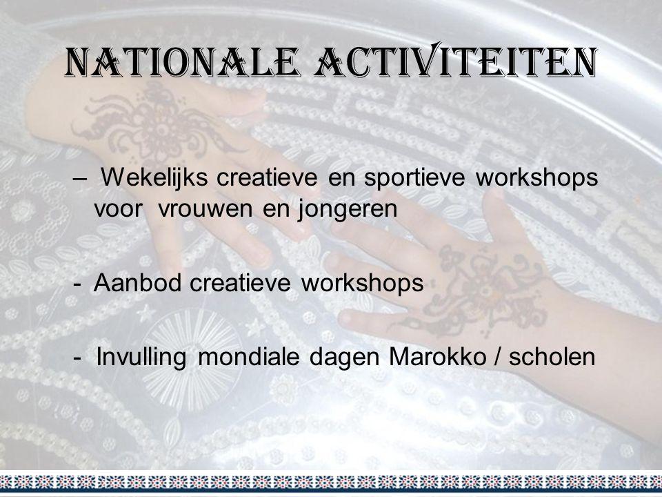 Nationale Activiteiten – Wekelijks creatieve en sportieve workshops voor vrouwen en jongeren -Aanbod creatieve workshops - Invulling mondiale dagen Marokko / scholen