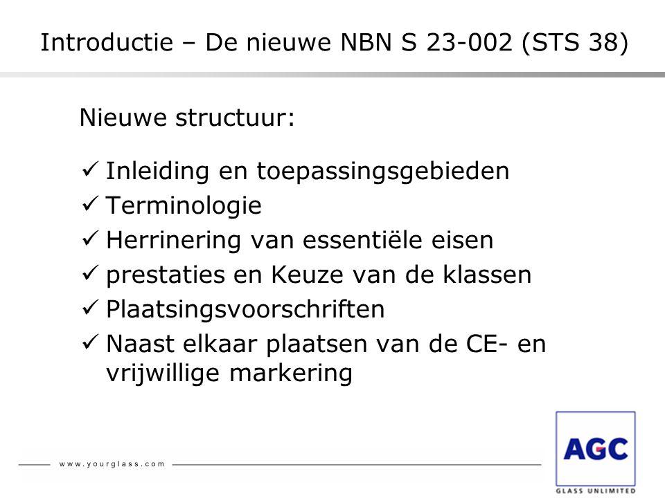 Nieuwe structuur:  Inleiding en toepassingsgebieden  Terminologie  Herrinering van essentiële eisen  prestaties en Keuze van de klassen  Plaatsin