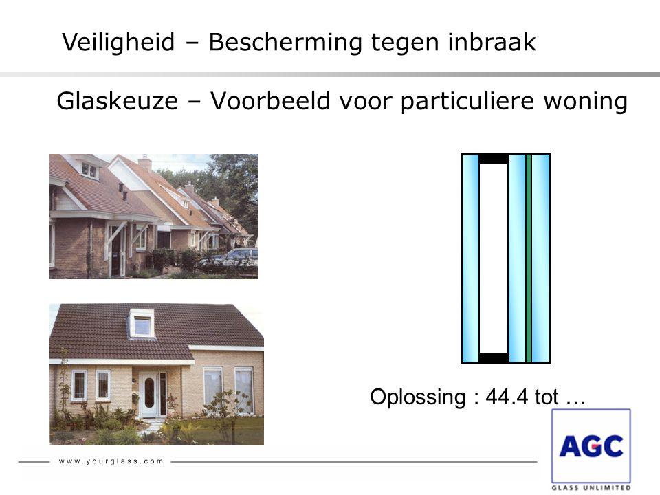 Glaskeuze – Voorbeeld voor particuliere woning Oplossing : 44.4 tot … Veiligheid – Bescherming tegen inbraak