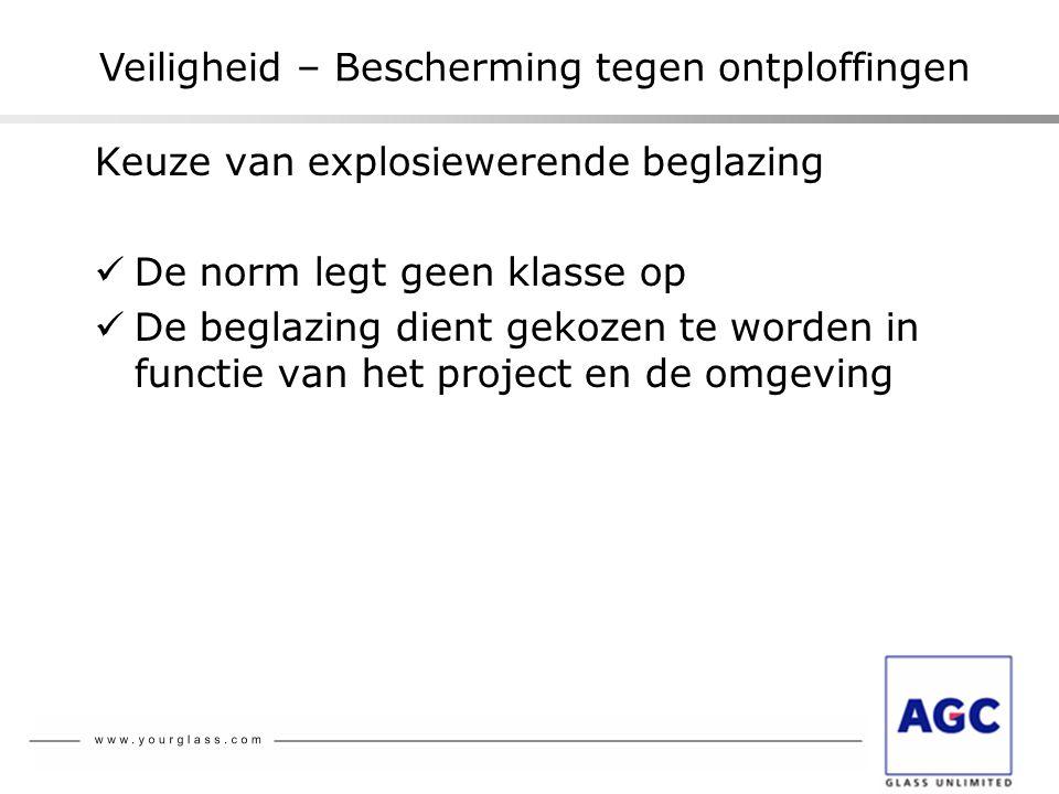 Keuze van explosiewerende beglazing  De norm legt geen klasse op  De beglazing dient gekozen te worden in functie van het project en de omgeving Vei