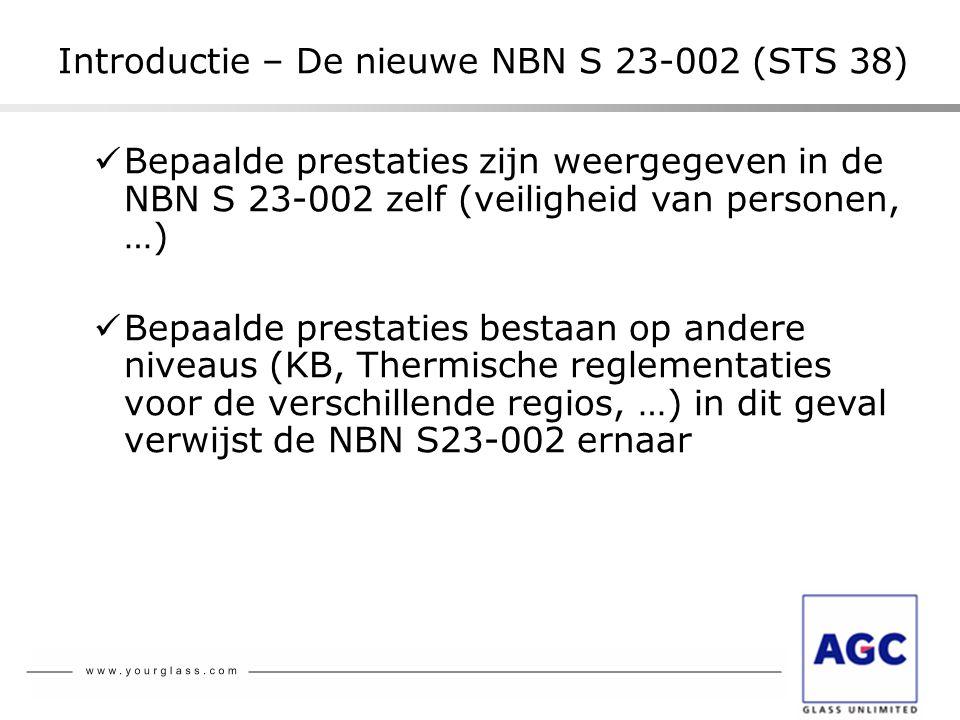  Bepaalde prestaties zijn weergegeven in de NBN S 23-002 zelf (veiligheid van personen, …)  Bepaalde prestaties bestaan op andere niveaus (KB, Therm