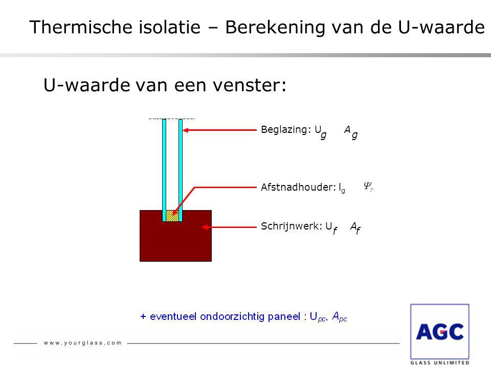 Thermische isolatie – Berekening van de U-waarde U-waarde van een venster: Schrijnwerk: U f A f Afstnadhouder: l g  Beglazing: U g A g