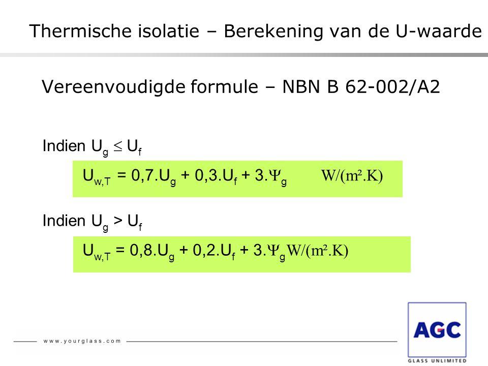 Vereenvoudigde formule – NBN B 62-002/A2 Thermische isolatie – Berekening van de U-waarde Indien U g  U f U w,T = 0,7.U g + 0,3.U f + 3.  g W/(m².K)