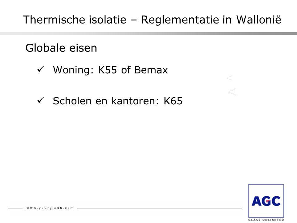 Thermische isolatie – Reglementatie in Wallonië  Woning: K55 of Bemax  Scholen en kantoren: K65 Globale eisen
