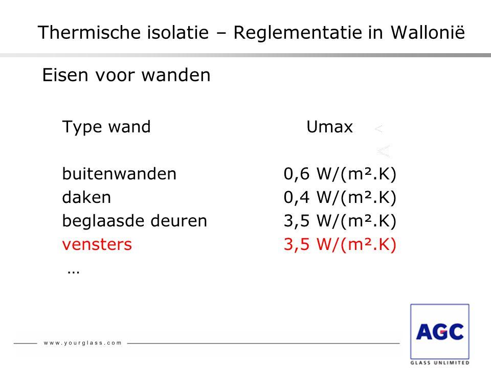 Thermische isolatie – Reglementatie in Wallonië Eisen voor wanden Type wand Umax buitenwanden0,6 W/(m².K) daken0,4 W/(m².K) beglaasde deuren3,5 W/(m².