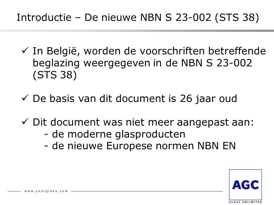 Introductie – De nieuwe NBN S 23-002 (STS 38)  In België, worden de voorschriften betreffende beglazing weergegeven in de NBN S 23-002 (STS 38)  De