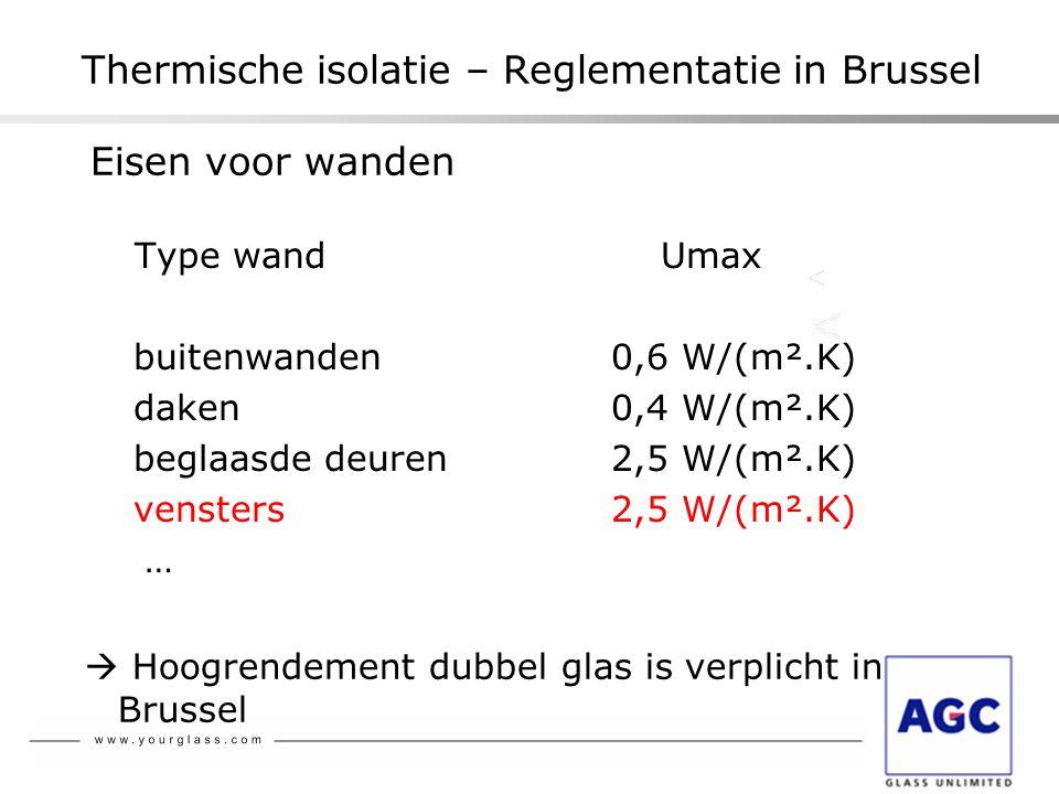 Thermische isolatie – Reglementatie in Brussel Eisen voor wanden Type wand Umax buitenwanden0,6 W/(m².K) daken0,4 W/(m².K) beglaasde deuren2,5 W/(m².K