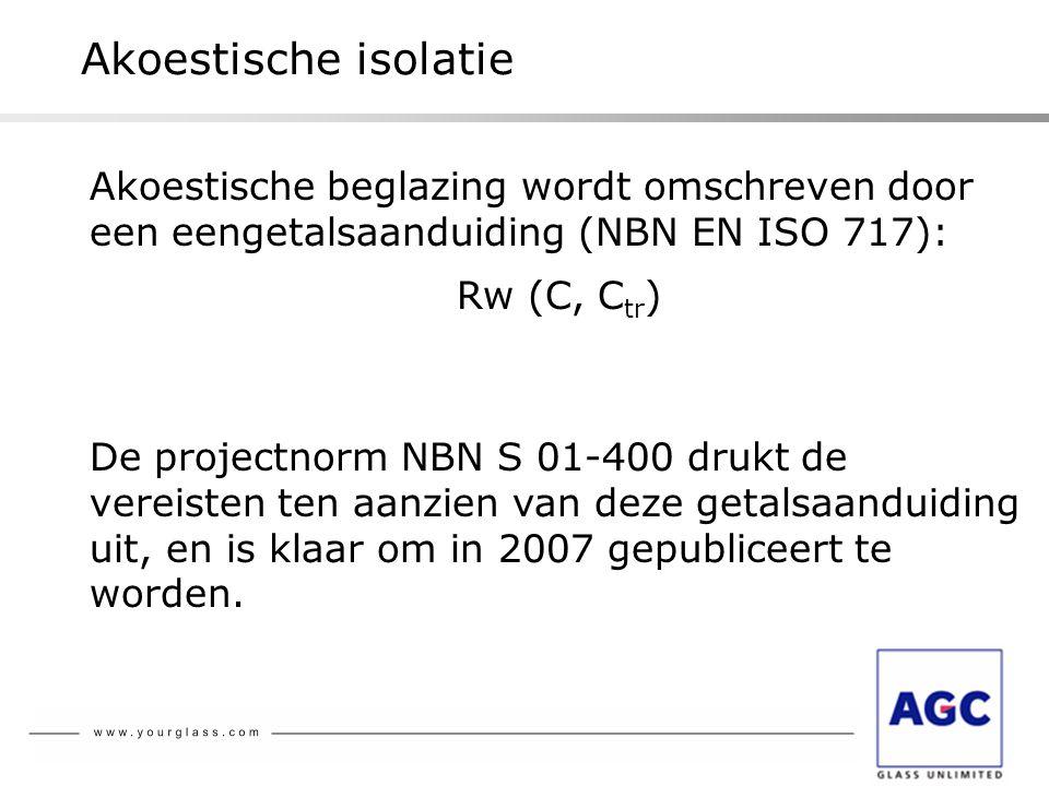 Akoestische isolatie Akoestische beglazing wordt omschreven door een eengetalsaanduiding (NBN EN ISO 717): Rw (C, C tr ) De projectnorm NBN S 01-400 d