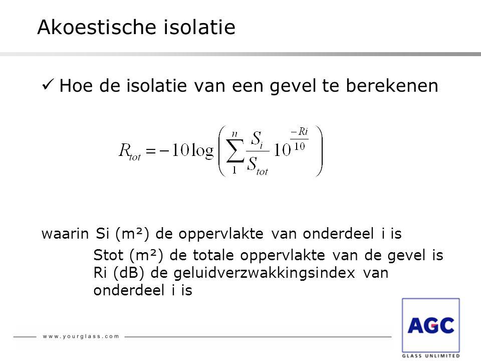 Akoestische isolatie  Hoe de isolatie van een gevel te berekenen waarin Si (m²) de oppervlakte van onderdeel i is Stot (m²) de totale oppervlakte van
