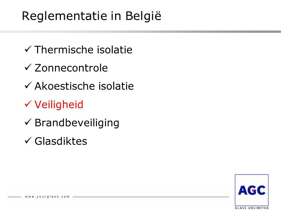 Reglementatie in België  Thermische isolatie  Zonnecontrole  Akoestische isolatie  Veiligheid  Brandbeveiliging  Glasdiktes