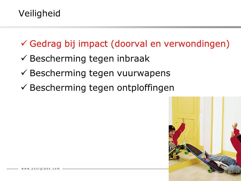 Veiligheid  Gedrag bij impact (doorval en verwondingen)  Bescherming tegen inbraak  Bescherming tegen vuurwapens  Bescherming tegen ontploffingen