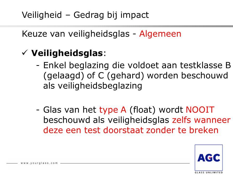 Veiligheid – Gedrag bij impact  Veiligheidsglas: -Enkel beglazing die voldoet aan testklasse B (gelaagd) of C (gehard) worden beschouwd als veilighei