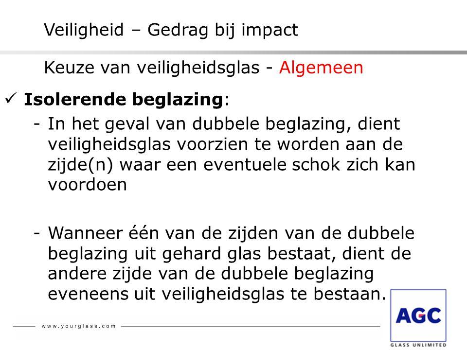 Veiligheid – Gedrag bij impact  Isolerende beglazing: -In het geval van dubbele beglazing, dient veiligheidsglas voorzien te worden aan de zijde(n) w