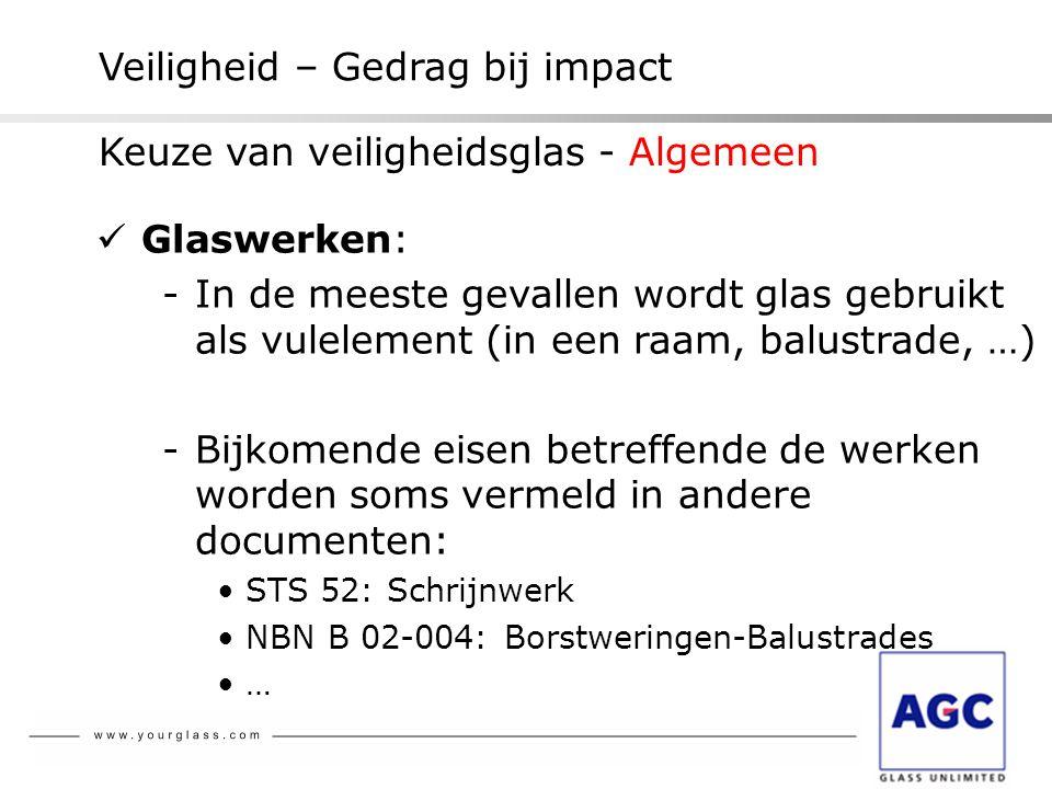 Veiligheid – Gedrag bij impact  Glaswerken: -In de meeste gevallen wordt glas gebruikt als vulelement (in een raam, balustrade, …) -Bijkomende eisen