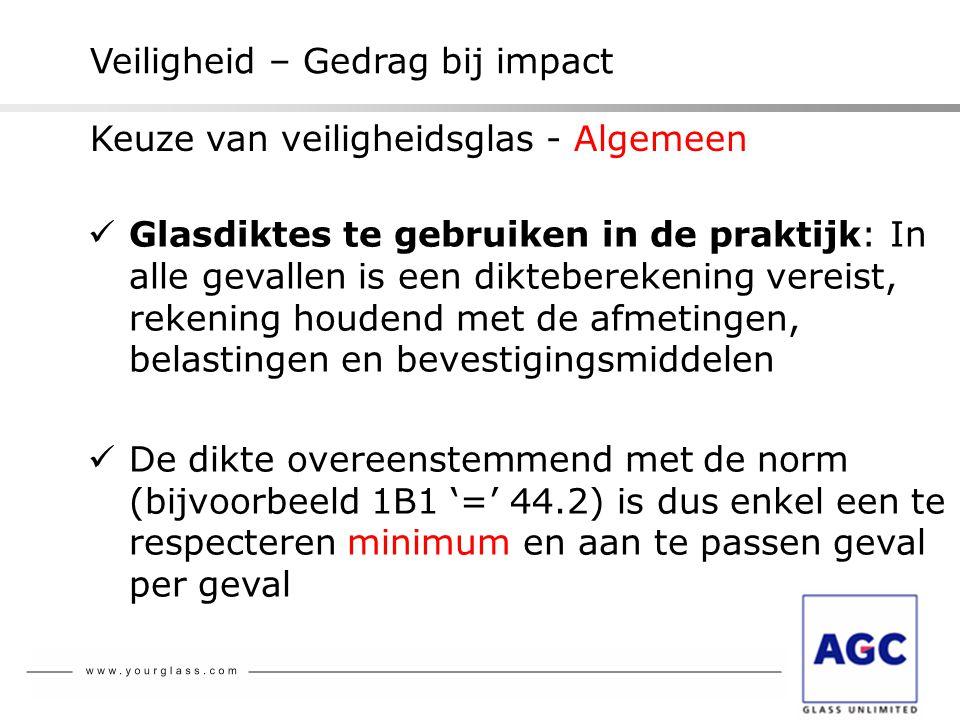 Veiligheid – Gedrag bij impact  Glasdiktes te gebruiken in de praktijk: In alle gevallen is een dikteberekening vereist, rekening houdend met de afme
