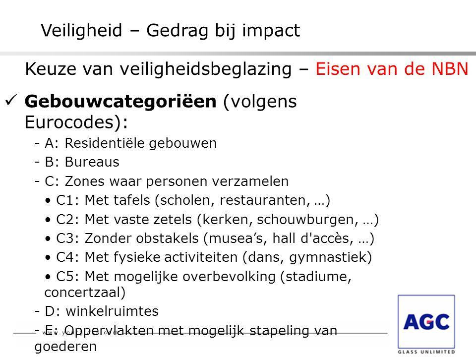 Veiligheid – Gedrag bij impact  Gebouwcategoriëen (volgens Eurocodes): - A: Residentiële gebouwen - B: Bureaus - C: Zones waar personen verzamelen •