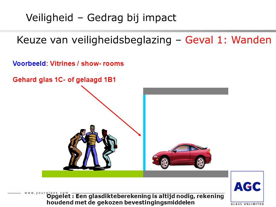 Veiligheid – Gedrag bij impact Gehard glas 1C- of gelaagd 1B1 Voorbeeld: Vitrines / show- rooms Opgelet : Een glasdikteberekening is altijd nodig, rek