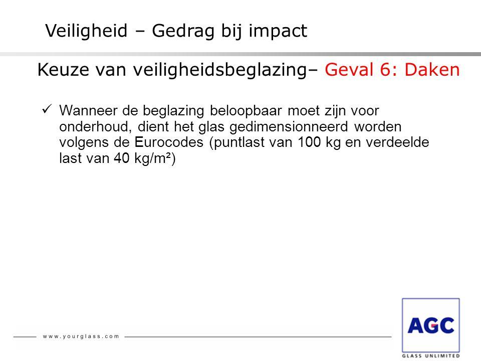 Veiligheid – Gedrag bij impact  Wanneer de beglazing beloopbaar moet zijn voor onderhoud, dient het glas gedimensionneerd worden volgens de Eurocodes