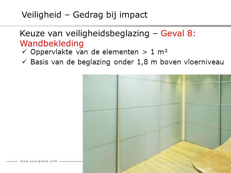 Veiligheid – Gedrag bij impact Keuze van veiligheidsbeglazing – Geval 8: Wandbekleding  Oppervlakte van de elementen > 1 m²  Basis van de beglazing