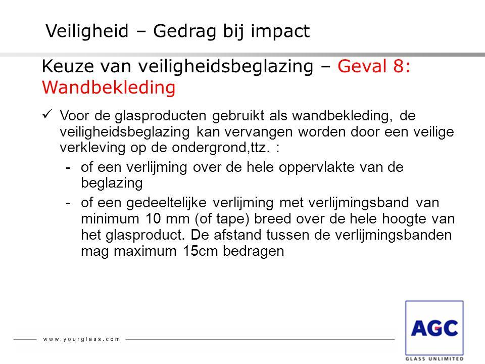 Veiligheid – Gedrag bij impact  Voor de glasproducten gebruikt als wandbekleding, de veiligheidsbeglazing kan vervangen worden door een veilige verkl