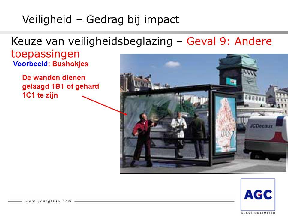 NBN S 23-002 Veiligheid – Gedrag bij impact Voorbeeld: Bushokjes De wanden dienen gelaagd 1B1 of gehard 1C1 te zijn Keuze van veiligheidsbeglazing – G