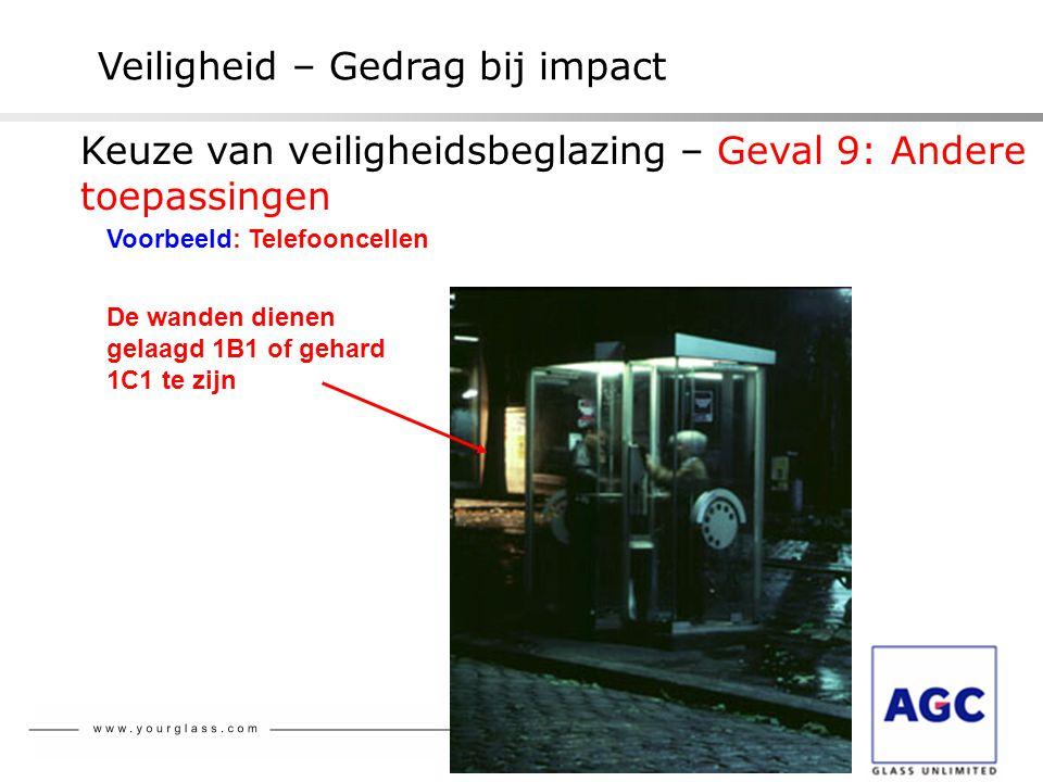 Veiligheid – Gedrag bij impact Voorbeeld: Telefooncellen De wanden dienen gelaagd 1B1 of gehard 1C1 te zijn Keuze van veiligheidsbeglazing – Geval 9: