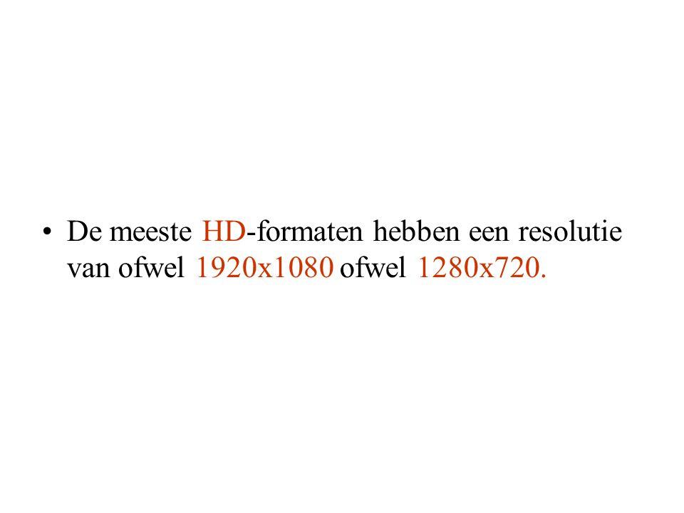 •De meeste HD-formaten hebben een resolutie van ofwel 1920x1080 ofwel 1280x720.