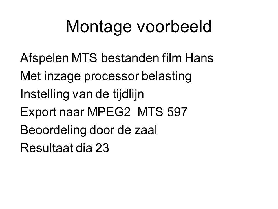 Montage voorbeeld Afspelen MTS bestanden film Hans Met inzage processor belasting Instelling van de tijdlijn Export naar MPEG2 MTS 597 Beoordeling doo
