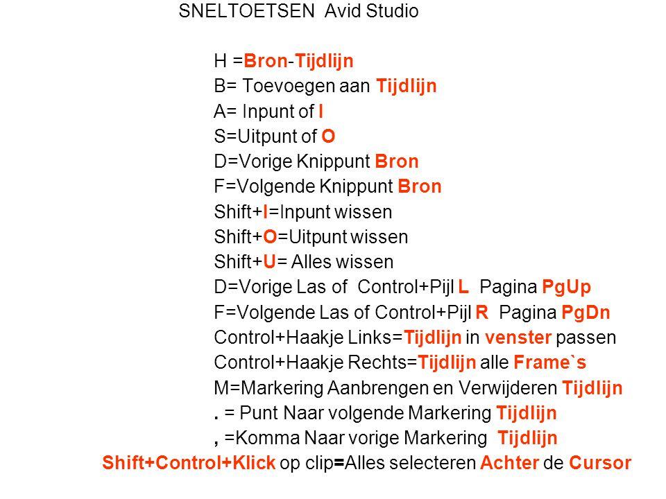 SNELTOETSEN Avid Studio H =Bron-Tijdlijn B= Toevoegen aan Tijdlijn A= Inpunt of I S=Uitpunt of O D=Vorige Knippunt Bron F=Volgende Knippunt Bron Shift