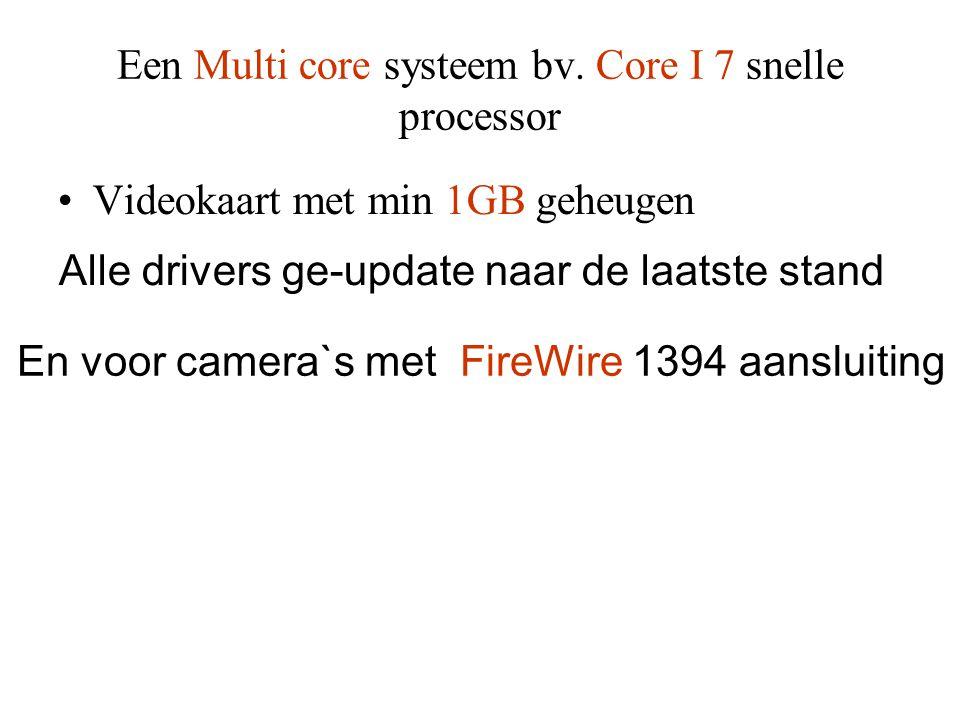 Een Multi core systeem bv. Core I 7 snelle processor •Videokaart met min 1GB geheugen Alle drivers ge-update naar de laatste stand En voor camera`s me