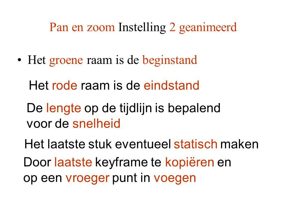 Pan en zoom Instelling 2 geanimeerd •Het groene raam is de beginstand Het rode raam is de eindstand De lengte op de tijdlijn is bepalend voor de snelh