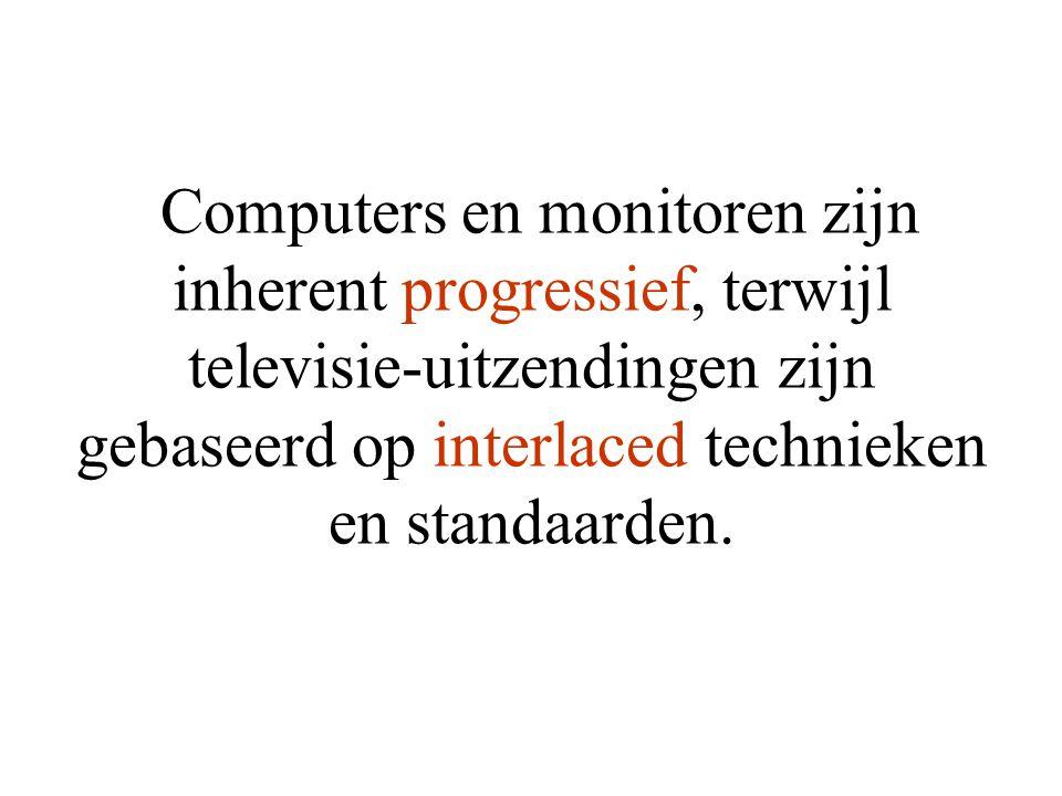 Computers en monitoren zijn inherent progressief, terwijl televisie-uitzendingen zijn gebaseerd op interlaced technieken en standaarden.