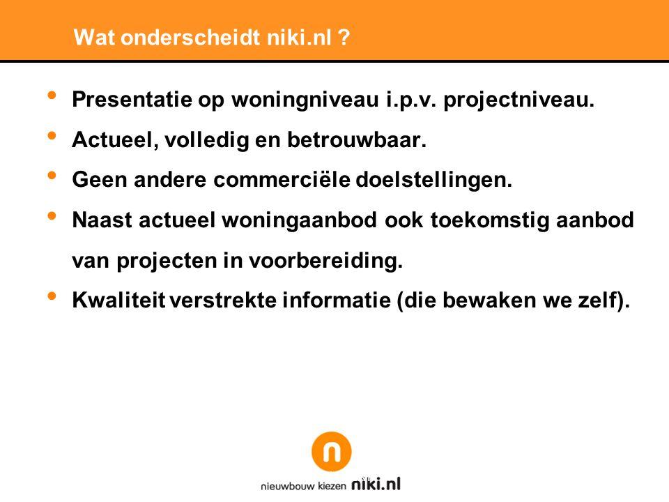 Wat onderscheidt niki.nl . • Presentatie op woningniveau i.p.v.