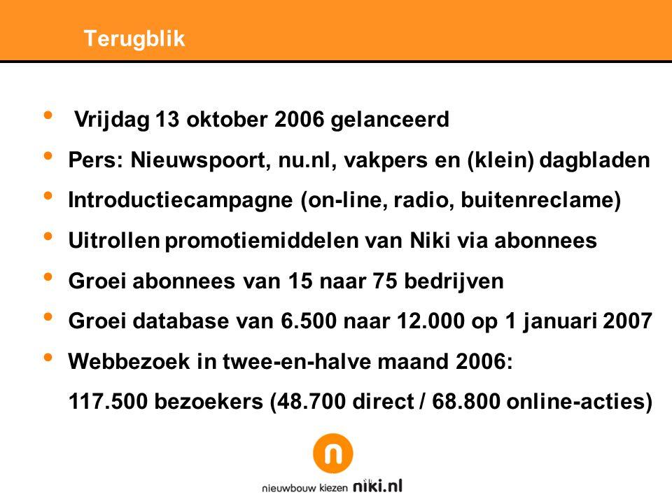 Stichting LNP Terugblik • Vrijdag 13 oktober 2006 gelanceerd • Pers: Nieuwspoort, nu.nl, vakpers en (klein) dagbladen • Introductiecampagne (on-line, radio, buitenreclame) • Uitrollen promotiemiddelen van Niki via abonnees • Groei abonnees van 15 naar 75 bedrijven • Groei database van 6.500 naar 12.000 op 1 januari 2007 • Webbezoek in twee-en-halve maand 2006: 117.500 bezoekers (48.700 direct / 68.800 online-acties)