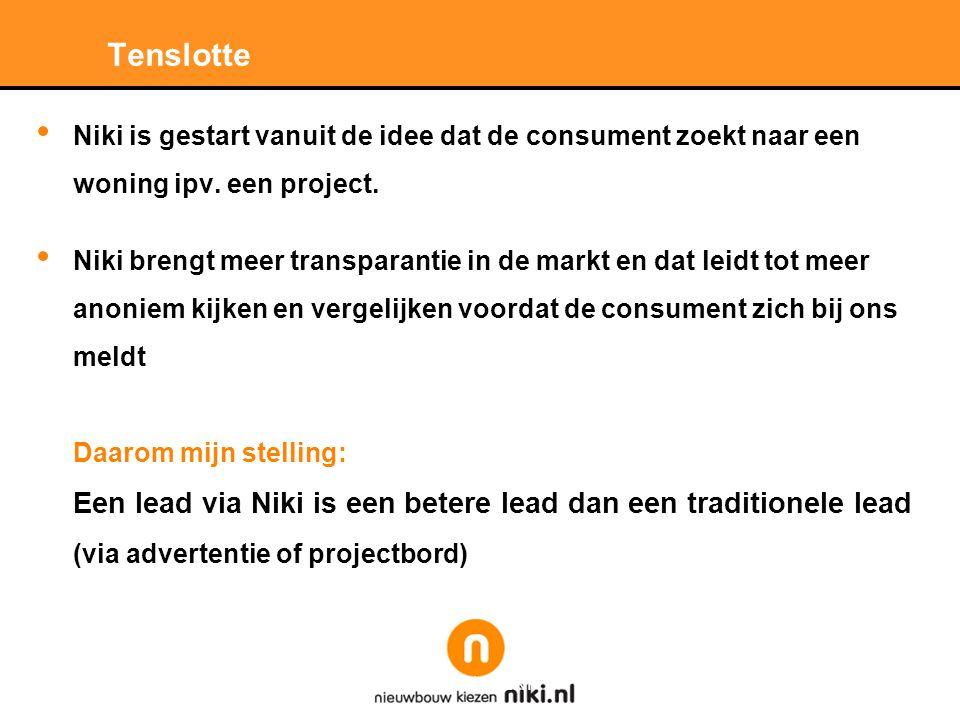 Stichting LNP Tenslotte • Niki is gestart vanuit de idee dat de consument zoekt naar een woning ipv.