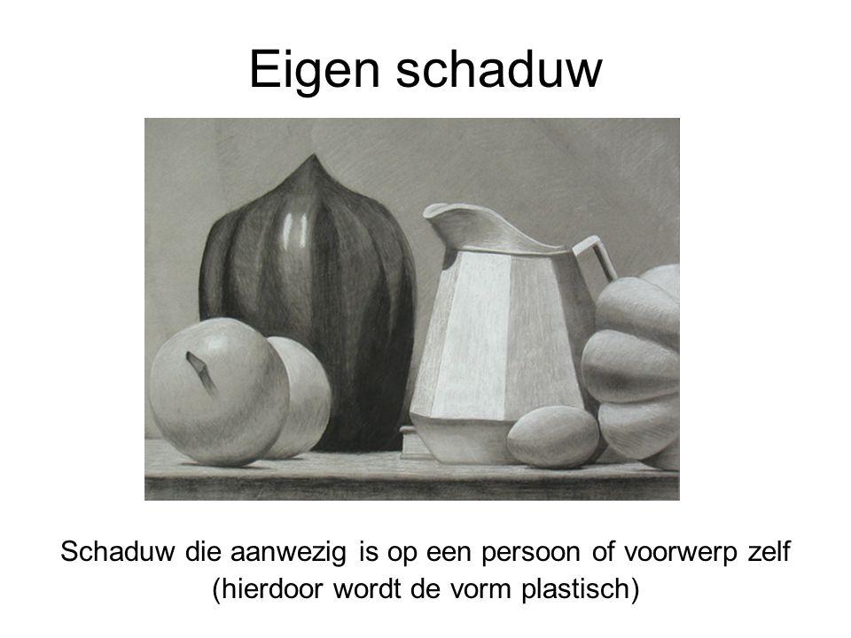 Eigen schaduw Schaduw die aanwezig is op een persoon of voorwerp zelf (hierdoor wordt de vorm plastisch)