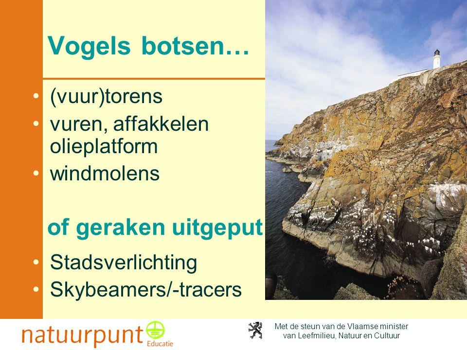 Met de steun van de Vlaamse minister van Leefmilieu, Natuur en Cultuur Vogels botsen… •(vuur)torens •vuren, affakkelen olieplatform •windmolens •Stads