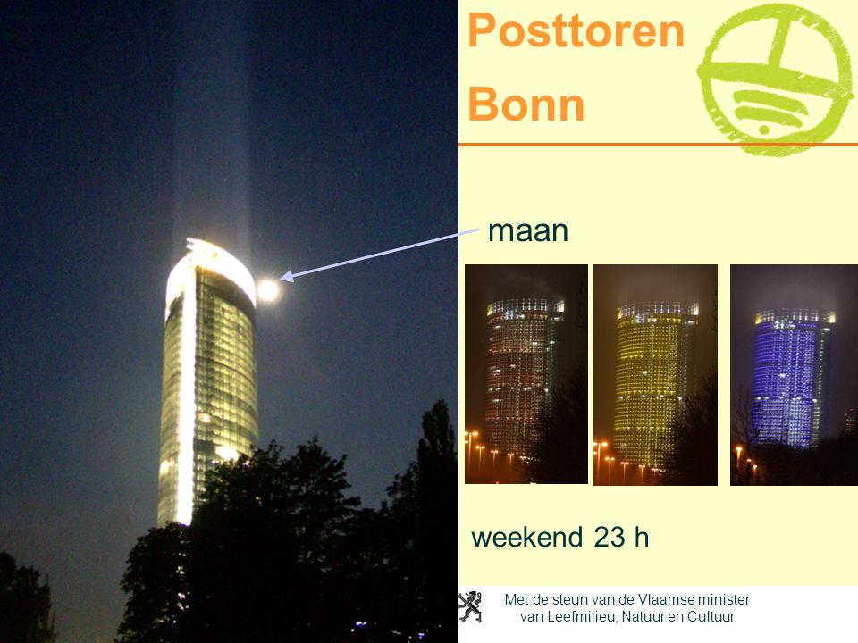 Met de steun van de Vlaamse minister van Leefmilieu, Natuur en Cultuur Posttoren Bonn weekend 23 h maan