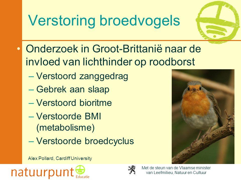 Met de steun van de Vlaamse minister van Leefmilieu, Natuur en Cultuur Verstoring broedvogels •Onderzoek in Groot-Brittanië naar de invloed van lichth
