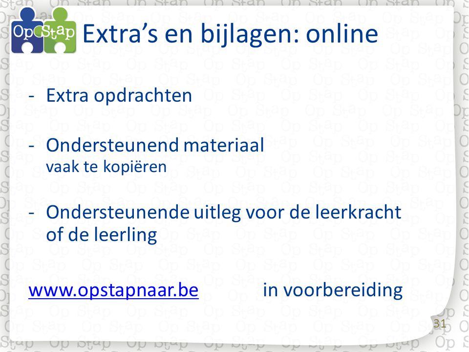 31 Extra's en bijlagen: online -Extra opdrachten -Ondersteunend materiaal vaak te kopiëren -Ondersteunende uitleg voor de leerkracht of de leerling www.opstapnaar.bewww.opstapnaar.be in voorbereiding