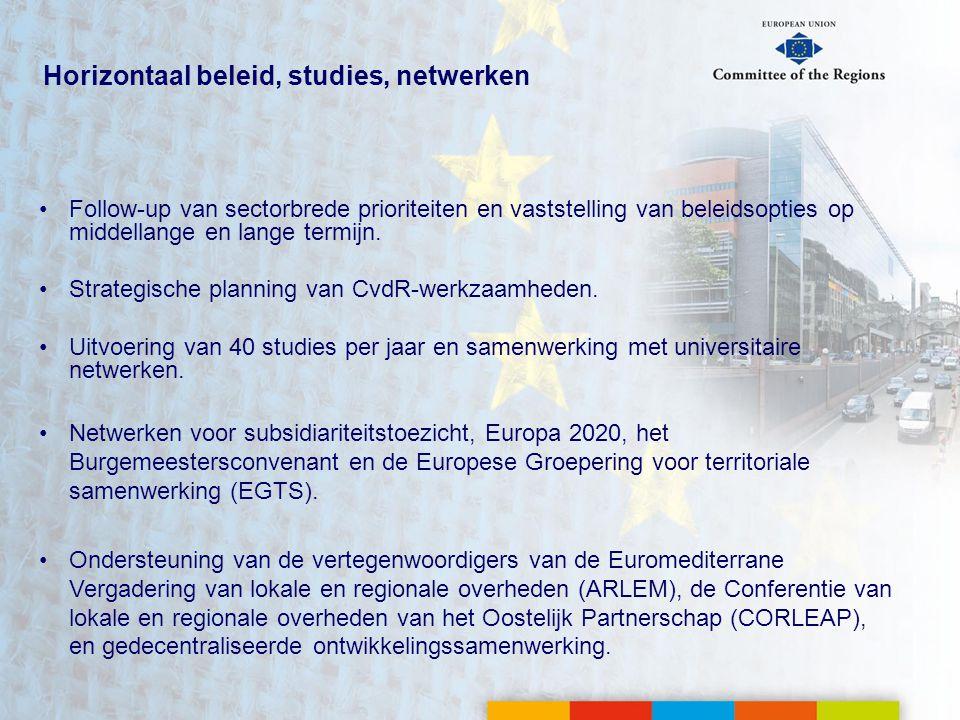 Horizontaal beleid, studies, netwerken •Follow-up van sectorbrede prioriteiten en vaststelling van beleidsopties op middellange en lange termijn.