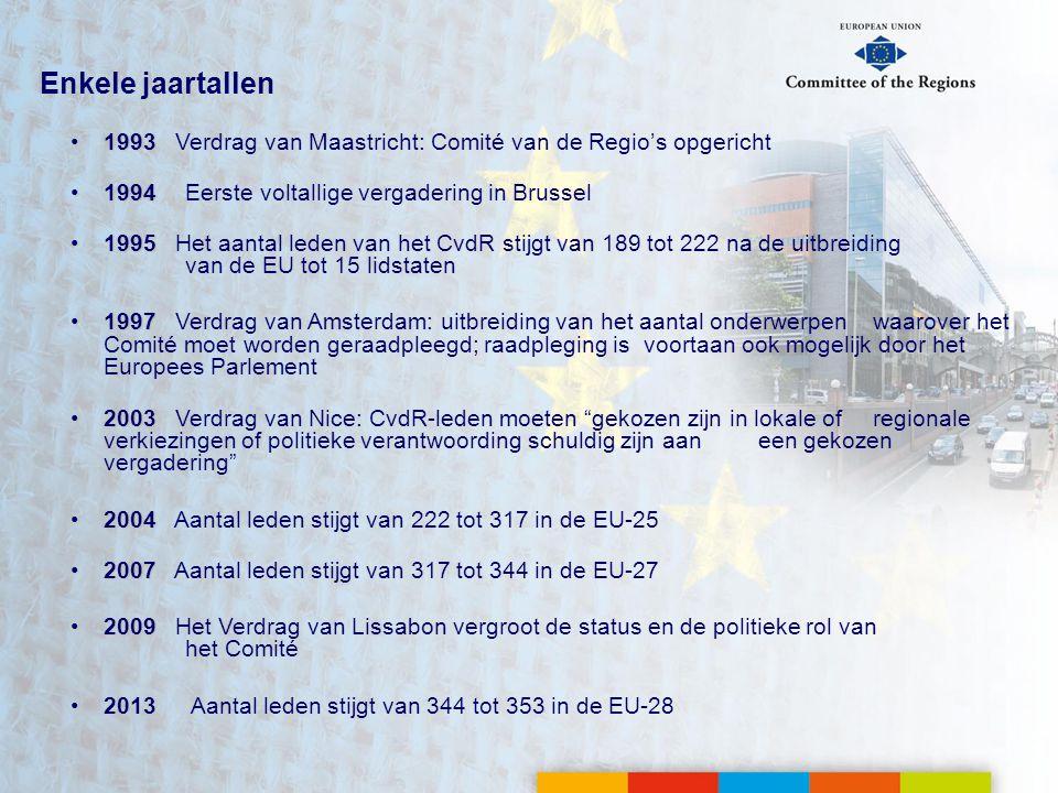 Enkele jaartallen •1993 •1993 Verdrag van Maastricht: Comité van de Regio's opgericht •1994 •1994Eerste voltallige vergadering in Brussel •1995 •1995 Het aantal leden van het CvdR stijgt van 189 tot 222 na de uitbreiding van de EU tot 15 lidstaten •1997 •1997 Verdrag van Amsterdam: uitbreiding van het aantal onderwerpen waarover het Comité moet worden geraadpleegd; raadpleging is voortaan ook mogelijk door het Europees Parlement •2003 •2003 Verdrag van Nice: CvdR-leden moeten gekozen zijn in lokale of regionale verkiezingen of politieke verantwoording schuldig zijn aan een gekozen vergadering •2004 •2004 Aantal leden stijgt van 222 tot 317 in de EU-25 •2007 •2007 Aantal leden stijgt van 317 tot 344 in de EU-27 •2009 •2009 Het Verdrag van Lissabon vergroot de status en de politieke rol van het Comité •2013 Aantal leden stijgt van 344 tot 353 in de EU-28